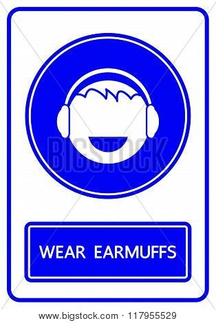 Wear Earmuffs Sign And Symbol Vector