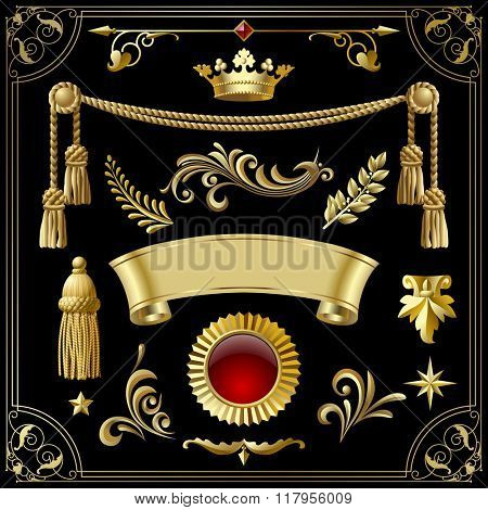 Gold vintage decorative elements for your design isolated on black. Contains the Clipping Path