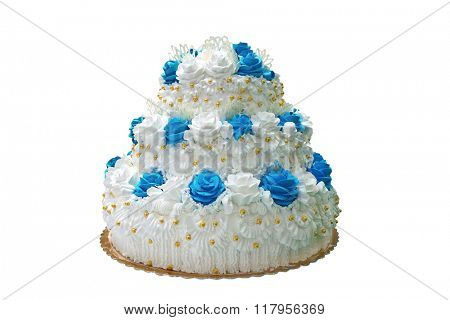 A big white cake cooking cream, isolated on white.