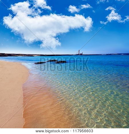 El Cotillo beach and Toston lighthouse at Fuerteventura Canary Islands