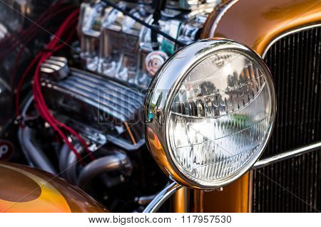 Head Light on a Vintage Collectors Car