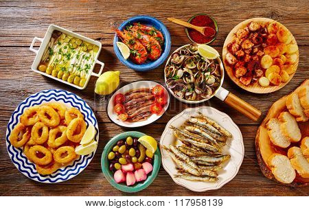Tapas seafood clams shrimps calamari anchovies shrimps octopus and bread Spain