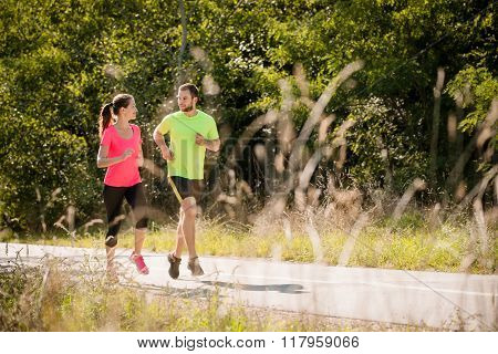 People running and talking together