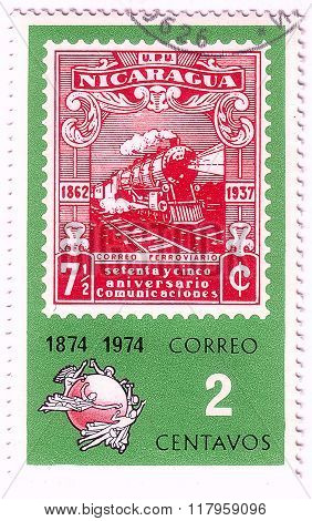 Nicaragua - Circa 1974: A Postage Stamp Printed In Nicaragua Showing An Image Of A Train, Circa 1974