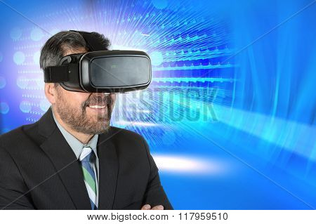 Mature businessman using virtual reality glasses over abstract background