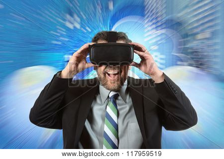 Portrait of mature businessman using virtual reality glasses over digital background