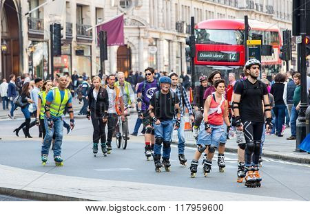 LONDON, UK - OCTOBER 4, 2016: London's roller skaters at the Regent street