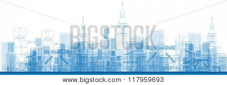 Outline London skyline with blue buildings and soldiers. Business and tourism concept with skyscrapers. Image for presentation, banner, placard or web site