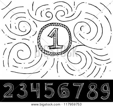 Hand Drawn Numbers with swirl pattern on white background.