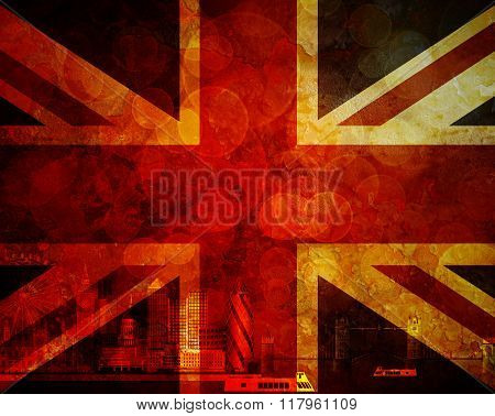 London Skyline Uk Flag Grunge Background Illustration