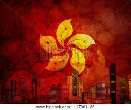 Hong Kong Skyline Hk Flag Grunge Background Illustration