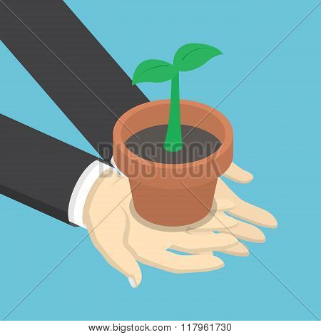 Isometric Businessman Holding Sprout Or Little Plant In His Hands