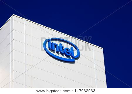 Haifa, Israel - February 11, 2016: Intel logo on a building, Intel is one of the world's largest and highest valued semiconductor chip makers, based on revenue.