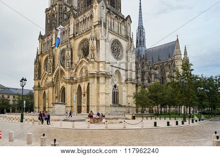 ORLEANS, FRANCE - AUGUST 11, 2015: Orleans Cathedral. It is a Gothic Catholic cathedral in the city of Orleans, France.