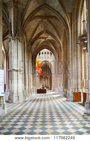 ORLEANS, FRANCE - AUGUST 12, 2015: Orleans Cathedral interior. Orleans Cathedral (Basilique Cathedrale Sainte-Croix d'Orleans) is a Gothic Catholic cathedral in the city of Orleans, France.