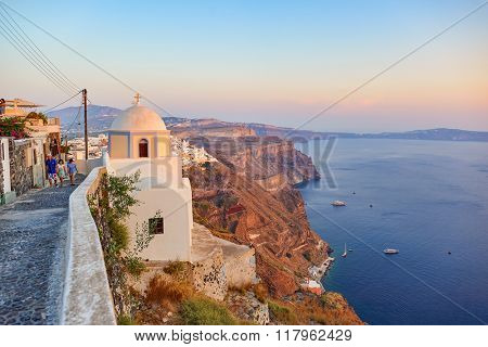 SANTORINI, GREECE - AUGUST 07, 2015: view of Santorini island. It is the largest island of a small, circular archipelago which bears the same name and is the remnant of a volcanic caldera