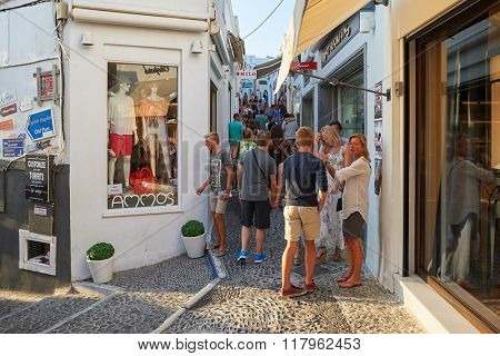 SANTORINI, GREECE - AUGUST 07, 2015: streets of Santorini island. Santorini, classically Thera, and officially Thira, is an island in the southern Aegean Sea