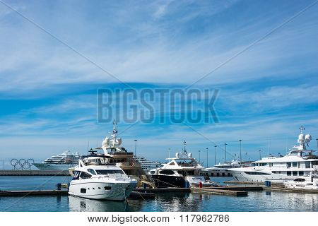 A clear, Sunny day in the sea port of Sochi, October 6, 2015.