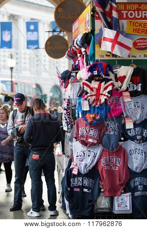 Typical London street stall selling tourist souvenirs at Regent street