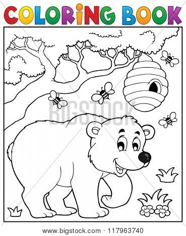 Coloring book bear theme 3 - eps10 vector illustration.