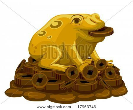 Illustration of a Golden Frog Sitting on Top of Coins to Attract Luck
