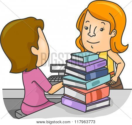 Illustration of a Girl Presenting the Books She Chose at the Counter