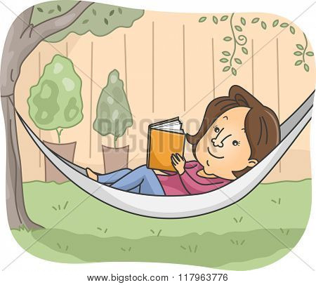 Illustration of a Girl Reading a Book While Lying on a Hammock