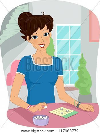 Illustration of a Girl Playing a Bingo Game at Home