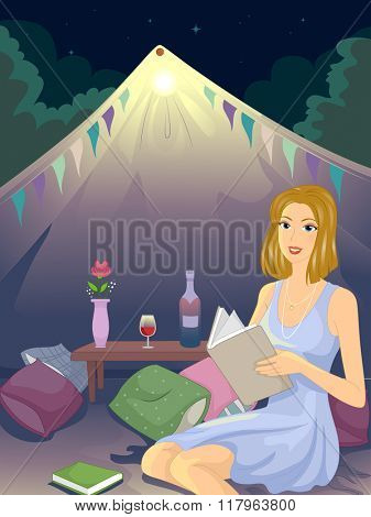 Illustration of a Girl at a Glamping Site Reading a Book