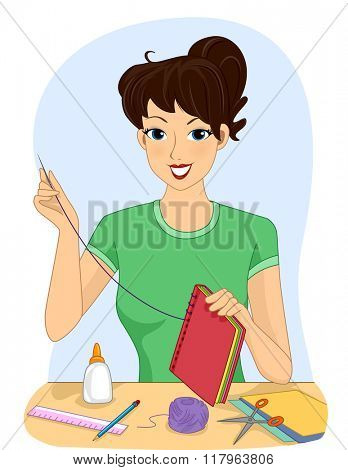 Illustration of a Girl Making a Handmade Book