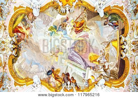 Fresco in Church Wieskirche. Wies