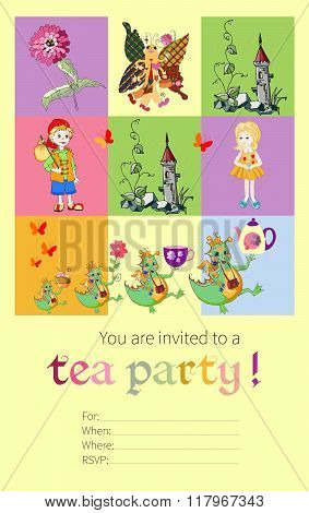 Tea Party Invitation For Kids With Fairy Dragons, Butterfly, Tower, Flower, Boy And Girl.
