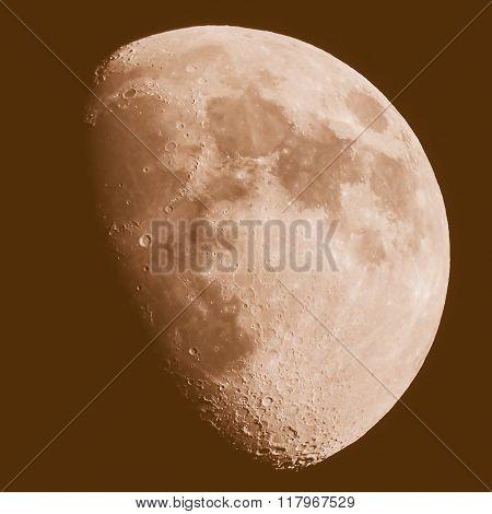 Retro Looking Gibbous Moon