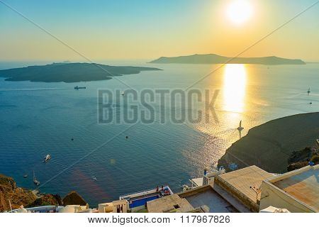 Santorini Island landscape at evening, Greece