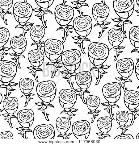 Romantic pattern of black and white roses.