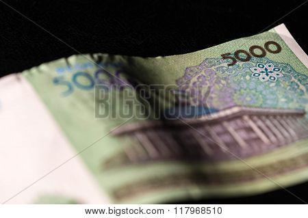Uzbekistan Banknote Of Five Thousand Sum Close Up