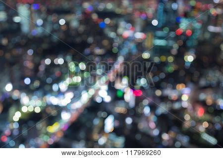 Blurred bokeh lights background aerial view big city downtown