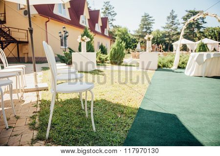 chair set for wedding or another catered event  visiting ceremony