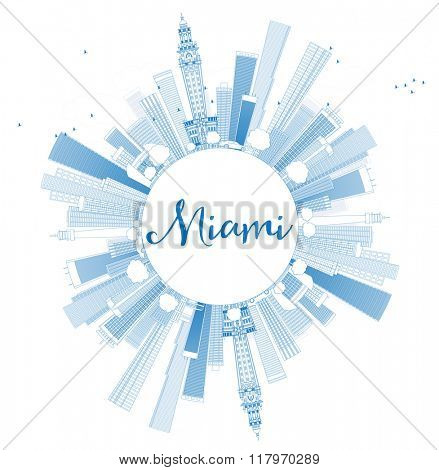Outline Miami Skyline with Blue Buildings and Copy Space. Business Travel and Tourism Concept with Modern Buildings. Image for Presentation Banner Placard and Web Site.