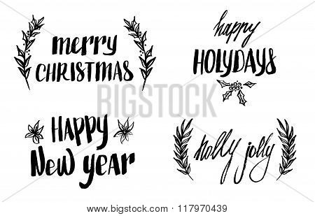 Hand Drawn Vector Illustrations. Vintage Decorative Kit Of Christmas Laurels And Quotes. Perfect For