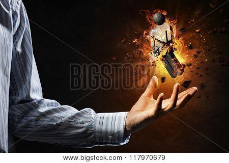 Male stone symbol in fire