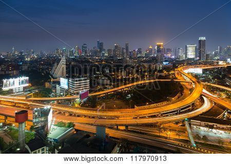 Bangkok interchange overpass and elevated road in nightfall