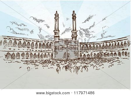 mecca background drawing hand drawn on blue  sky