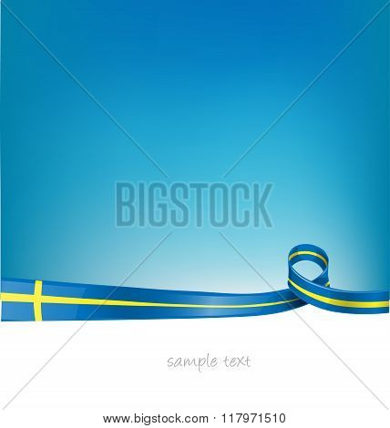sweden ribbon flag on blue sky background