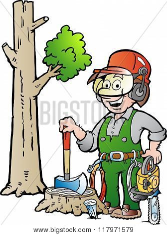 Vector Cartoon Illustration Of A Happy Working Lumberjack Or Woodcutter