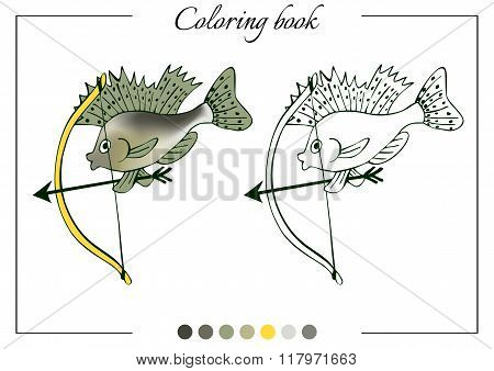 Coloring Book With Little Ruff With A Bow. Cartoon Vector Illustration For Children Education.