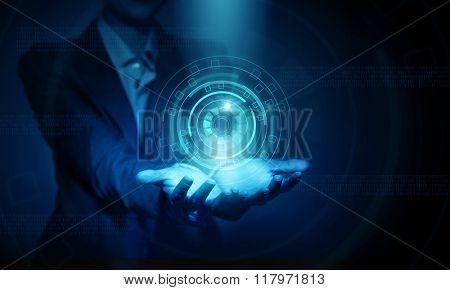 Woman presenting modern technologies