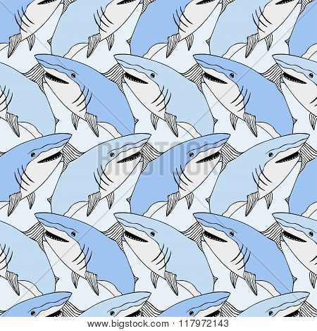 Cute sharks pattern. Nautical seamless print. Sea life vector illustration. Hand drawn background. S