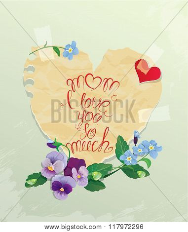 Happy Mother's Day Card. Heart Is Made Of Old Paper With Daisy And Forget Me Not Flowers Around, Cal