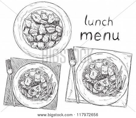 Hand drawn dish. Salads